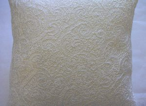 Heavy White Lace Cushion Closeup